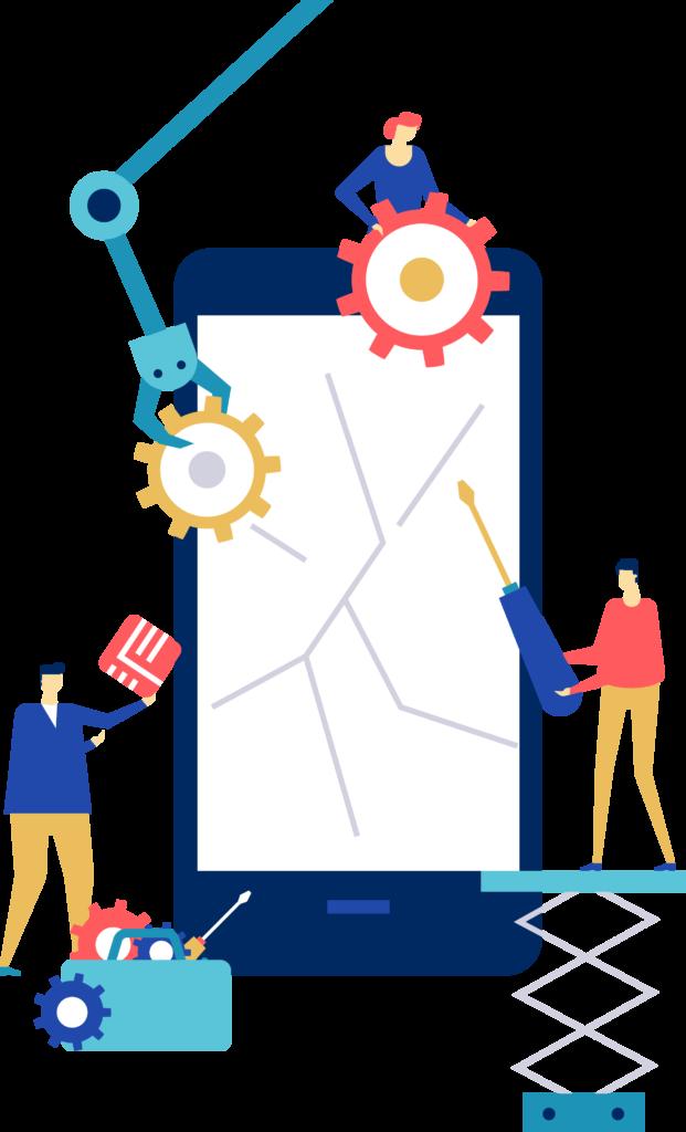 Illustrierte Personen die ein Smartphone reparieren
